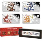 2012 Perth Mint 1 oz Silver Year of the Dragon 4-Coin Rectange Set - With Box and COA
