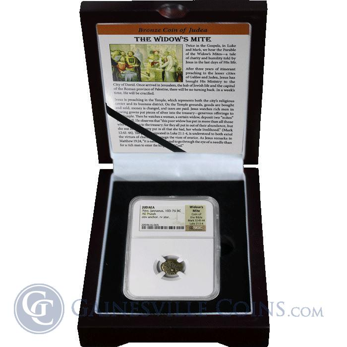 Image Showcase for Judaea Alex Jannaeus 103-76 BC AE Prutah Widows Mite Coin Of The Bible NGC