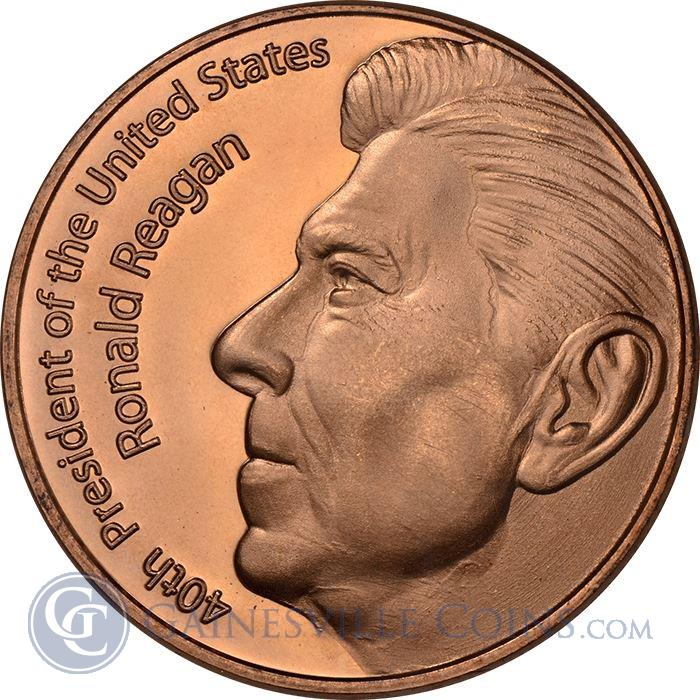 Image Showcase for Ronald Reagan Copper Round - 1 AVDP Ounce (.999 Pure)