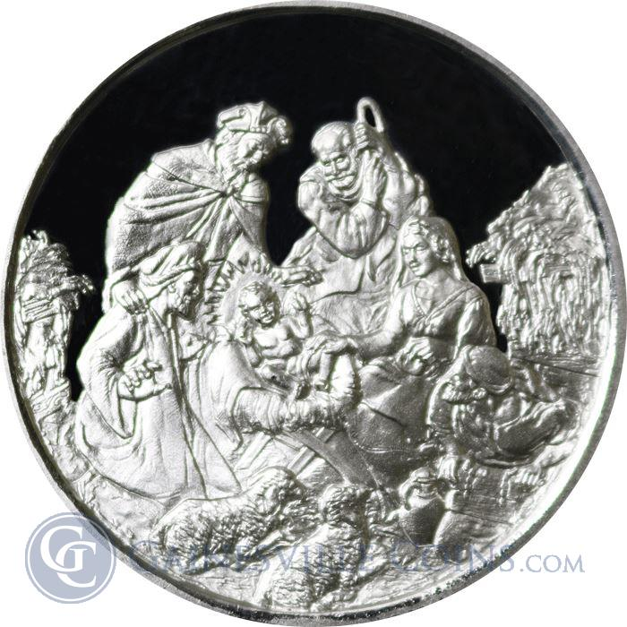 Image Showcase for Nativity Scene Merry Christmas 1 oz Silver Round (.999 Fine)
