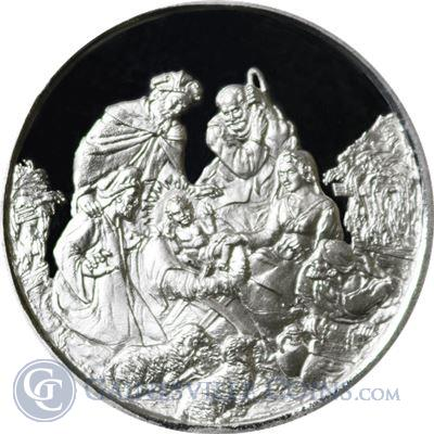 Nativity Scene Merry Christmas 1 oz Silver Round (.999 Fine)