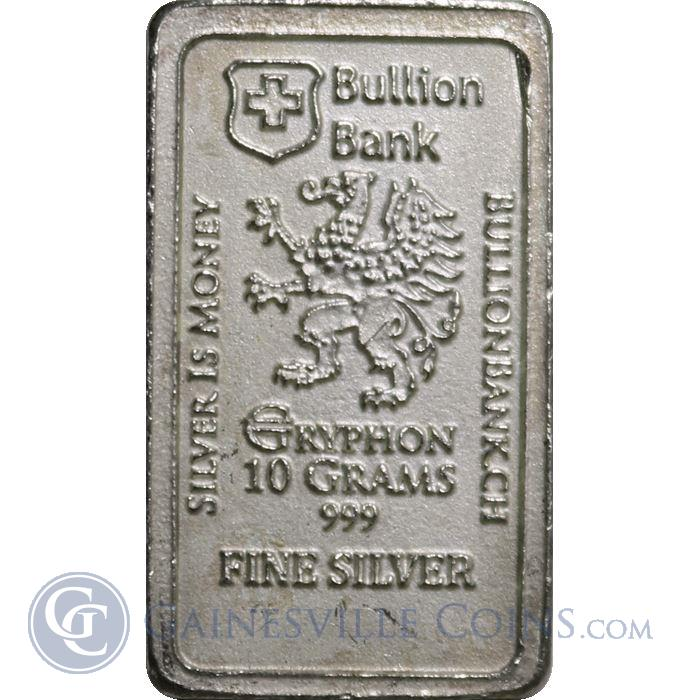 Image Showcase for 10 Gram Bullion Bank Silver Bar (.999 Pure)