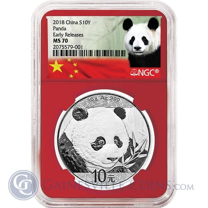 Image Showcase for 2018 China S10Y 30 Gram Silver Panda NGC MS70 Early Release - Red Core