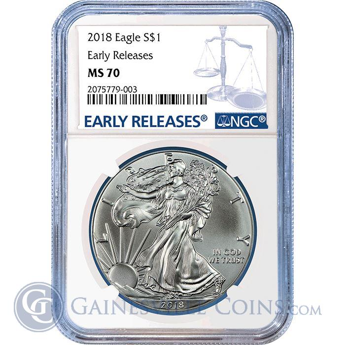 Image Showcase for 2018 American Silver Eagle NGC MS70 Early Releases