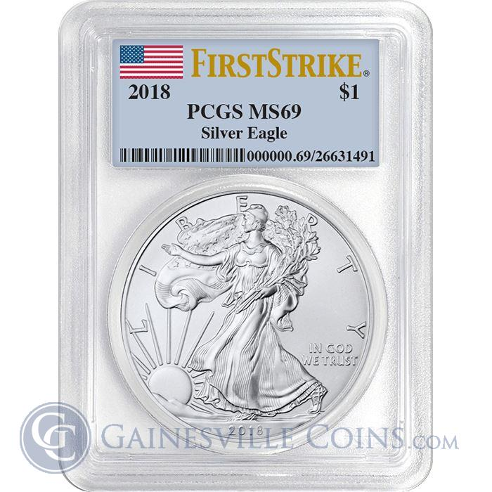 Image Showcase for 2018 American Silver Eagle PCGS MS69 First Strike