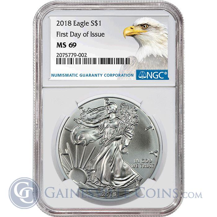 Image Showcase for 2018 American Silver Eagle NGC MS69 First Day Of Issue - Bald Eagle Label