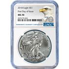2018 American Silver Eagle NGC MS70 First Day Of Issue - Bald Eagle Label