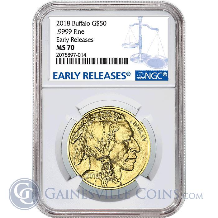Image Showcase for 2018 $50 American Gold Buffalo NGC MS70 Early Release