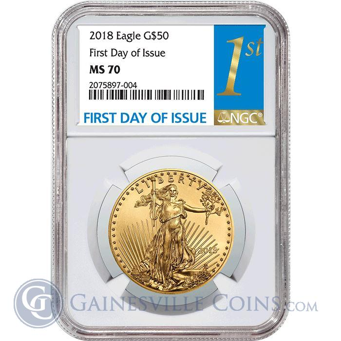 Image Showcase for 2018 $50 American Gold Eagle 1 oz NGC MS70 First Day Of Issue