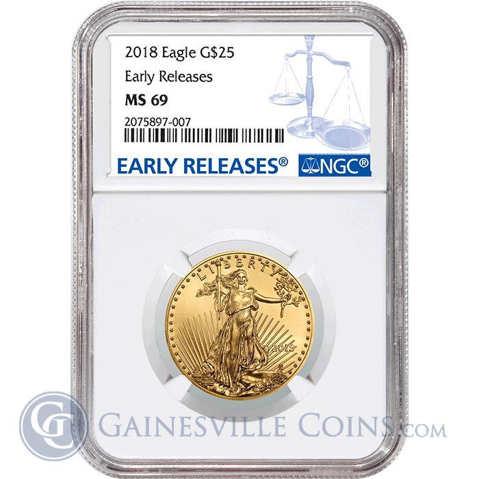 Image Showcase for 2018 $25 American Gold Eagle NGC MS69 Early Release