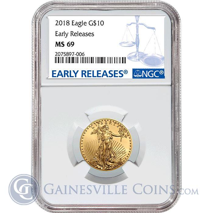 Image Showcase for 2018 $10 American Gold Eagle NGC MS69 Early Release