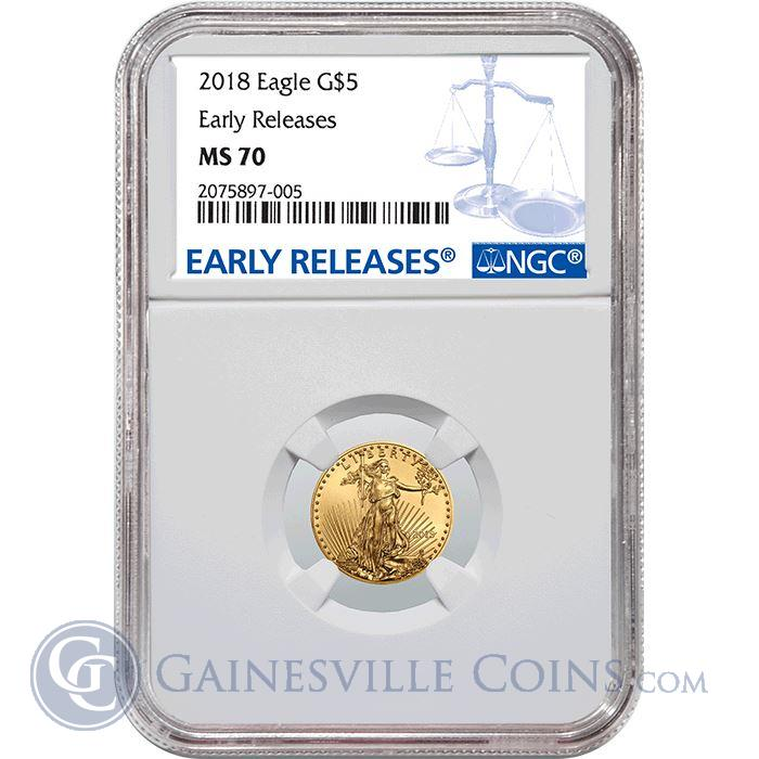 Image Showcase for 2018 $5 American Gold Eagle NGC MS70 Early Release