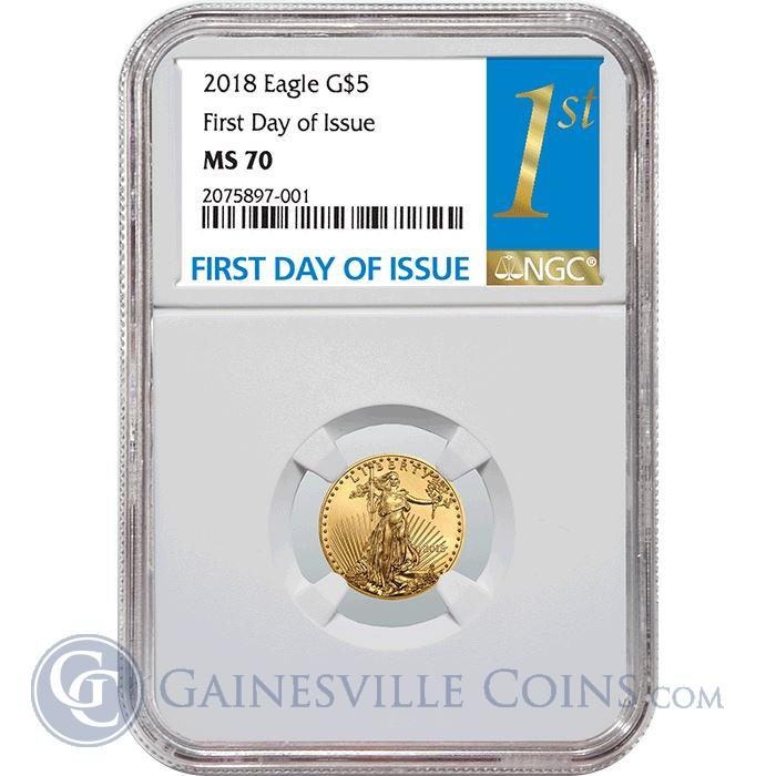 Image Showcase for 2018 $5 American Gold Eagle NGC MS70 First Day Of Issue
