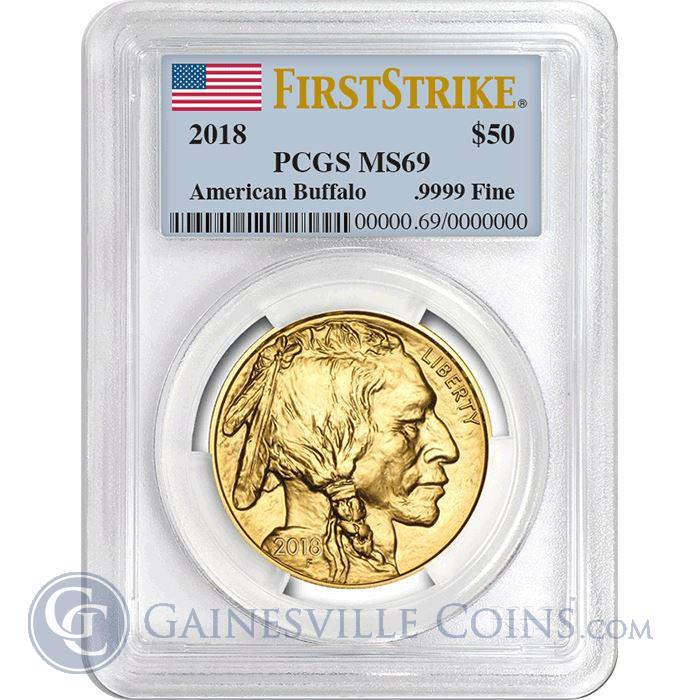 Image Showcase for 2018 $50 American Gold Buffalo PCGS MS69 First Strike