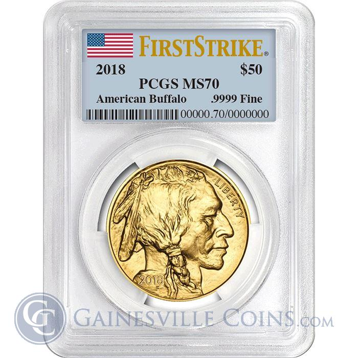 Image Showcase for 2018 $50 American Gold Buffalo PCGS MS70 First Strike