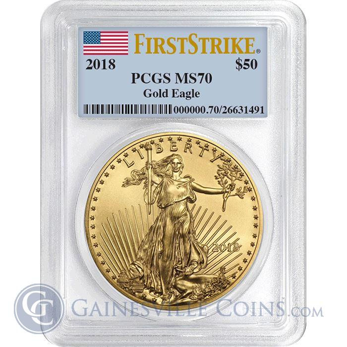 Image Showcase for 2018 $50 American Gold Eagle 1 oz PCGS MS70 First Strike