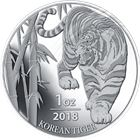 2018 South Korea 1 oz Silver Tiger - BU In Capsule