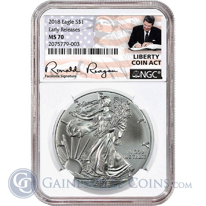Image Showcase for 2018 American Silver Eagle NGC MS70 Early Release - Liberty Coin Act Label