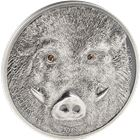 2018 Mongolia 1 oz Silver Wild Boar Wildlife Protection - With Swarovski Eyes