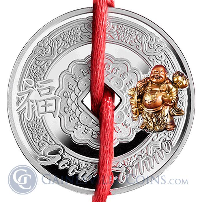 Image Showcase for 2017 Laughing Buddha Proof Silver Coin 500 Francs - Symbols Of Feng Shui (With Box and COA)