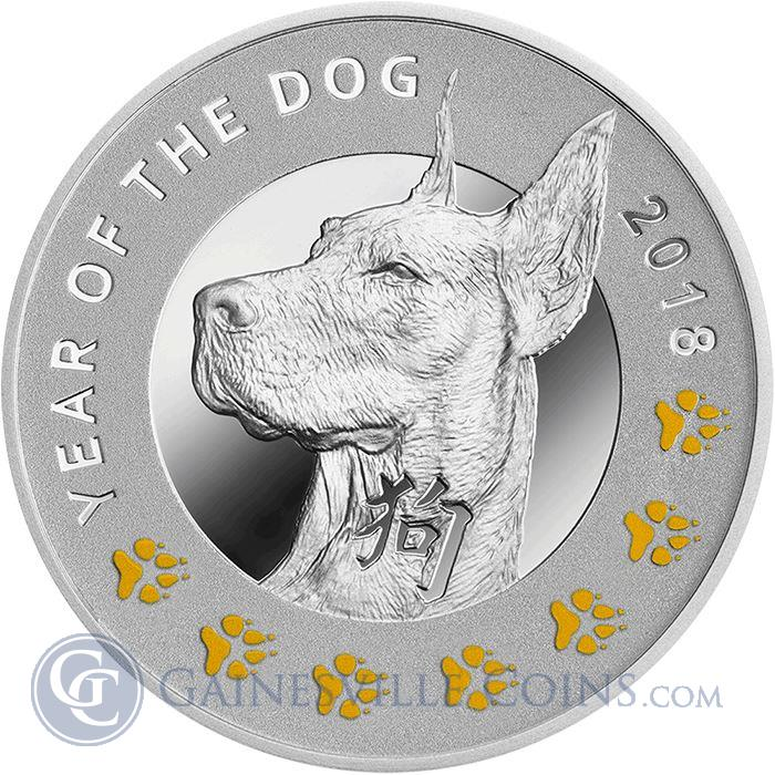 Image Showcase for 2018 Lunar Year Of The Dog Proof Silver Coin $1 Niue - 7 Elements (With Box and COA)