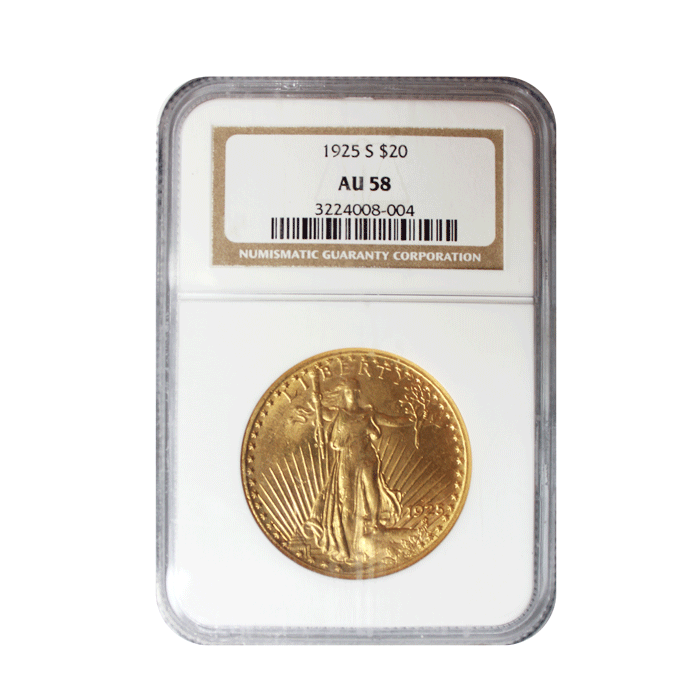 1925-S $20 American Double Eagle Gold Coin Graded AU58