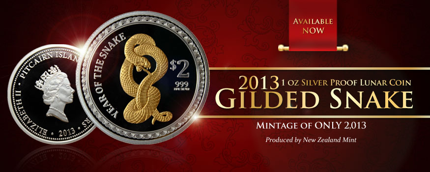 New Zealand Mint Gilded Proof Silver Year of the Snake Exclusively for Gainesville Coins!