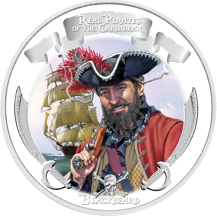 Blackbeard Silver Proof Coin - 1oz 99.9% Pure Silver