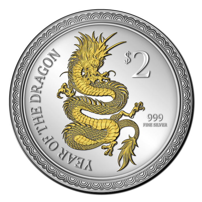 Exclusive Year of the Dragon Gilded Silver Coin from New Zealand Mint