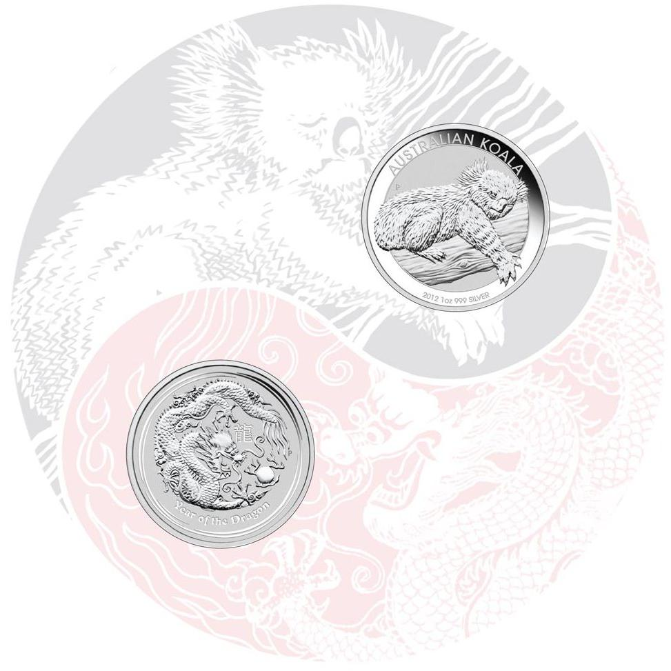 "Inner presentation card for the ""East Meets West"" silver coin set"