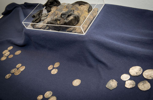 The silver coins and remains of the shoe were displayed to the public on Friday. Photo: Novum