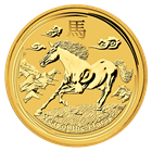 The reverse designs of the gold coins depict a horse galloping in a stylised scene of mountains and clouds, which represents the highland regions of China. The horse symbolises freedom and reinforces the energetic characteristics of this spirited animal.