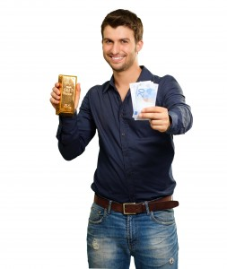 Young Man Prefering Gold Bar to Cash
