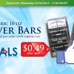 Daily Deal: 10 oz Generic Silver Bars 49 Cents Over Spot!