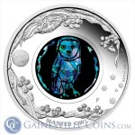 This Masked Owl silver coin is part of Perth's Opal Series.