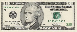 Alexander Hamilton has appeared on $10 notes and gold certificates since at least 1928. His portrait has appeared on various denominations of paper money since 1861.