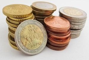 A stack of euro coins