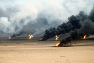 Oil well fires rage outside Kuwait City in the aftermath of Operation Desert Storm.