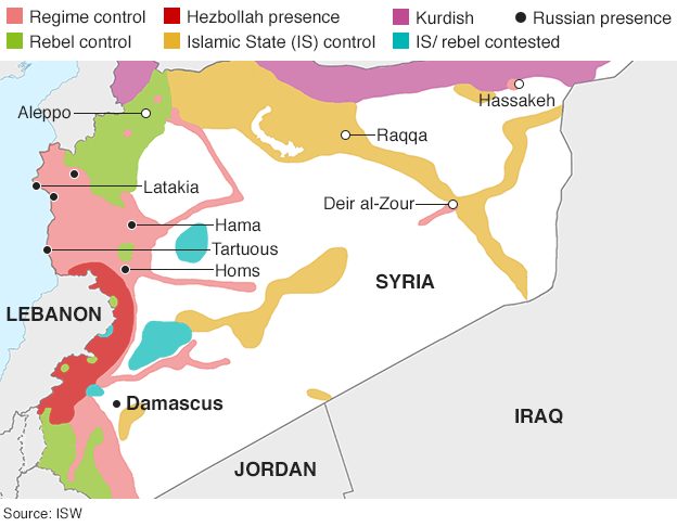 BBC map showing areas of influence among the various factions in Syria
