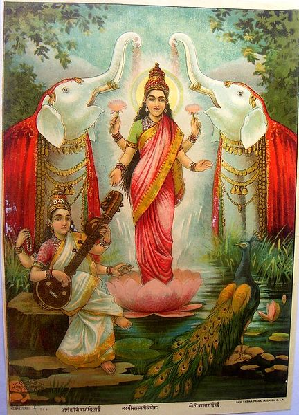 Lakshmi, the Hindu Goddess of Wealth and Prosperity (By Ravi Varna Studio [Public domain], via Wikimedia Commons) </center