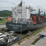 Container ship in a lock of the Panama Canal