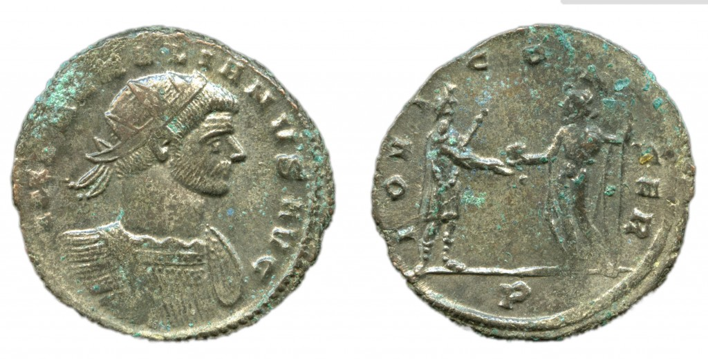 "A coin of the Emperor Aurelian (ruled 270-275AD) from the Peover Superior Hoard(The Portable Antiquities Scheme/ The Trustees of the British Museum"" (UK)[CC BY 2.0])"