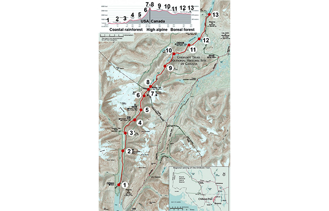 Present-day hiking map of Chilkoot Trail, with elevations (National Park Service)