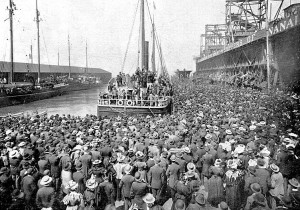 Excelsior leaving San Francisco July 27, 1897 with first load of gold seekers