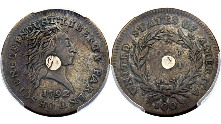 Silver Center Cent. Image courtesy of Heritage Auctions