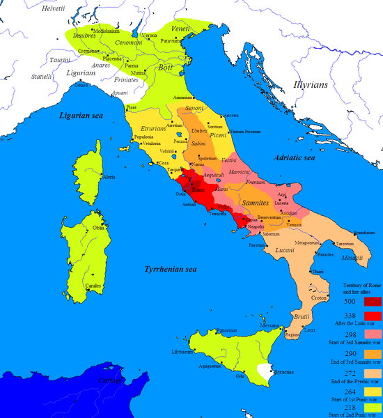 Roman conquest of Italy map