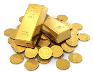 gold bars and gold coins