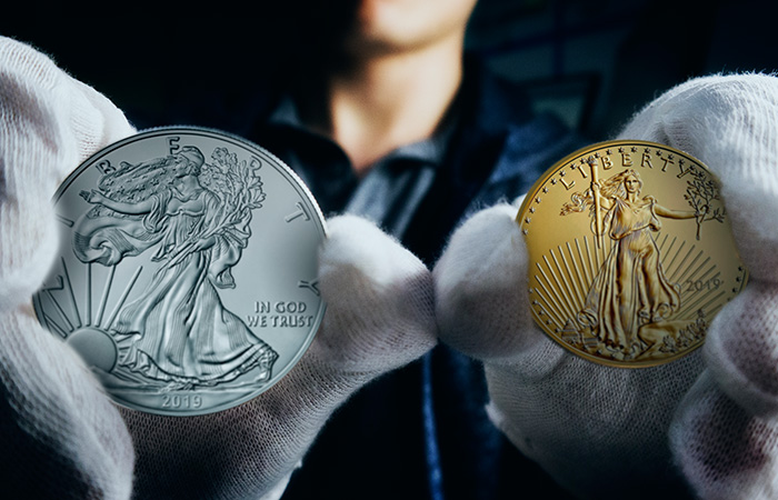 gold and silver eagles