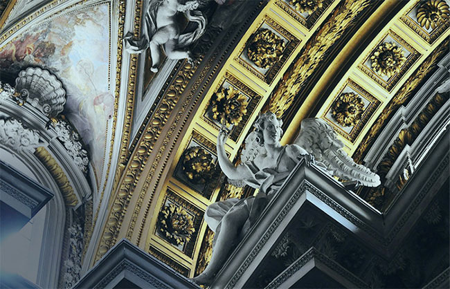gold church ceiling art