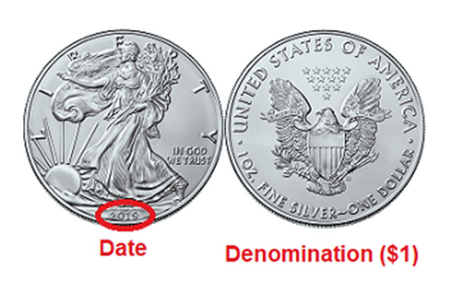 an American Silver Eagle coin, showing points of interest